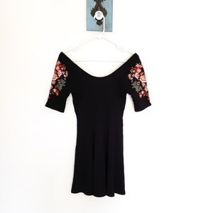 FREE PEOPLE scooped neck embroidered skater dress